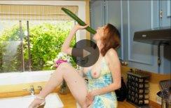 masturbating with a big cucumber
